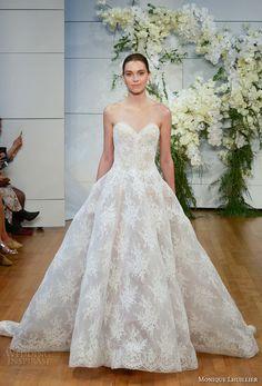 monique lhuillier spring 2018 bridal strapless sweetheart neckline full embellishment lace romantic princess ball gown wedding dress royal train (alexandra) mv