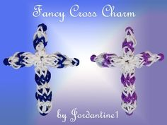 New Fancy Cross Charm - Monster Tail or Rainbow Loom - Christmas Easter Rainbow Loom Tutorials, Rainbow Loom Patterns, Rainbow Loom Creations, Rainbow Loom Bands, Rainbow Loom Charms, Rainbow Loom Bracelets, Loom Love, Fun Loom, Rainbow Loom Christmas
