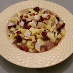 Brinta speculaaskruiden rozijnen. Topping gebakken appel amandelen gedroogde cranberries goijbesjes en kokosslices