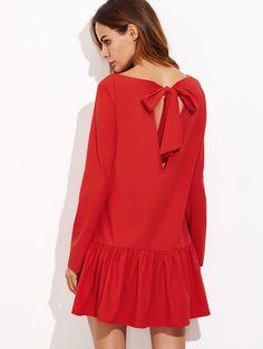 eed0ebe03d5 Shop Bow Tie Open Back Frill Hem Dress online. SheIn offers Bow Tie Open  Back