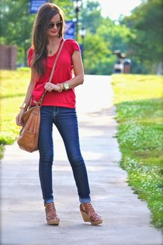 Red tee, jeans, wedges, and our Sheila bag!! #hobolove #hobobags @Debbie Fortner All Things Lovely