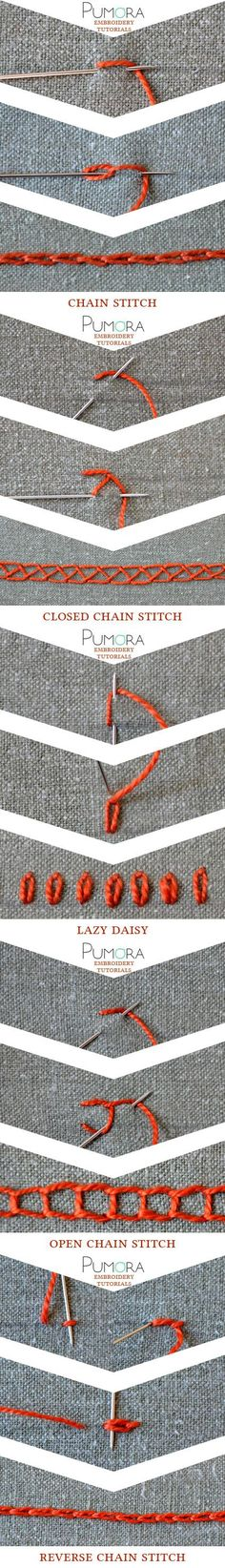 embroidery tutorials: chain stitch with variations broderie, ricamo, sticken, bordado