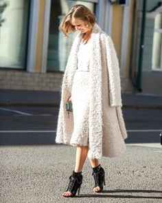 Luxury wool coat and skirt
