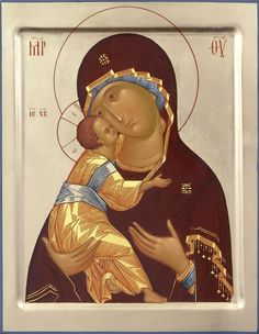 This icon of the Mother of God of Vladimir is handpainted to order in the icon painting studio of St Elisabeth Convent. Select from both options (paints and size) to see the price of the icon Religious Icons, Religious Art, Russian Icons, Byzantine Icons, Painting Studio, Madonna And Child, Orthodox Icons, Tempera, Virgin Mary
