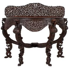 19th Century Anglo-Indian Carved Console Table 1