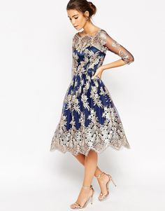 Chi Chi London Premium Lace Midi Prom Dress With Bardot Neck | ASOS