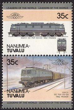 1985 Tuvalu, Nanumea #5, pair -  Leaders of the world. Locomotive. 1952 S.N.C.F. CC7121, France. Tuvalu design A36