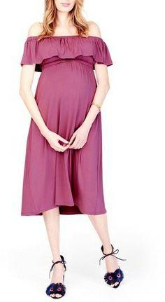 Ingrid & Isabel R) Off the Shoulder Maternity Midi Dress - Schwangere Welt Maternity Midi Dress, Pink Midi Dress, Stylish Maternity, Maternity Tops, Maternity Fashion, Maternity Dresses Summer, Pregnancy Outfits, Pregnancy Tips, Models
