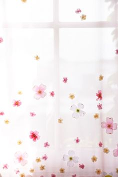 These DIY floral curtains will add a lovely touch to the office space.