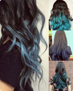 If all over blue doesn't work out I'd love to do a black ombre with the blue. Top 7 Best Black Ombre Hair Color Ideas 2013