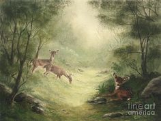Deer Painting - Woodland Surprise by Cathy Cleveland
