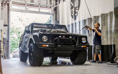 We're finishing the day off with a thorough hand wash on the eGarage Lamborghini LM002!
