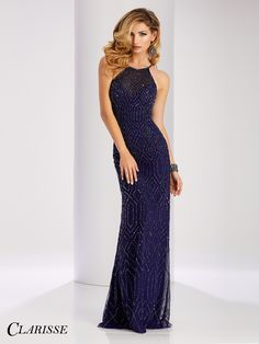 Clarisse Chic Beaded Prom Dress 3085. Sparkly halter neck navy prom dress or black tie evening gown for a military ball | Promgirl.net