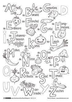 ABC and 123 - fruits and vegetables ABC - La Rovere - Science Education Primary School, Pre School, Coloring For Kids, Coloring Pages, Kindergarten Portfolio, German Language Learning, Learn German, Special Education, Kids And Parenting