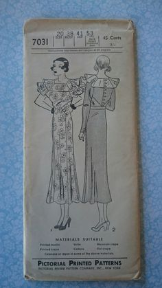 Pictorial Review 7031 | 1930s Misses' Frock