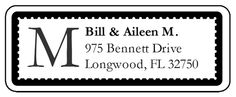 Black & White monogrammed address labels are great for sending out on formal invitations.