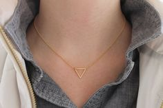 Items similar to Gold Filled Triangle Necklace, Tiny Gold Geometric Necklace, Silver Triangle Necklace, Gold Dainty Necklace, Modern Minimalist Necklace on Etsy Dainty Gold Necklace, Simple Necklace, Simple Jewelry, Silver Necklaces, Minimalist Necklace, Minimalist Jewelry, Modern Minimalist, Triangle Necklace, Geometric Necklace