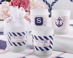 Personalized Frosted Glass Votive - Nautical Bridal Shower - Candle Favors by Kate Aspen
