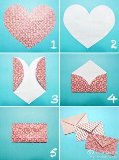 Love Letter - handmade envelope folded from a paper heart