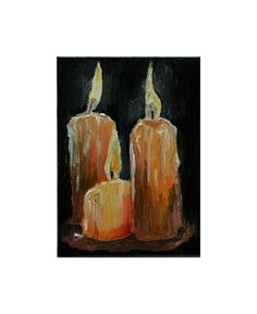 Candle Painting   Black Painting  Oil Painting  by KubuHandmade