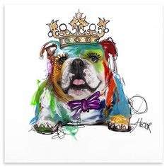 Couture Canvas - Hector Bulldog, Mixed Media, 70 x 70 cm