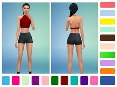 Recolor of LittleBigShortie's Plain Halter Crop Tops. Includes 20 new colors!  Found in TSR Category 'Sims 4 Female Everyday'