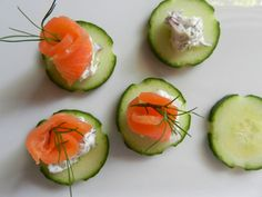 smoked salmon on cucumber rounds! This reminds me of my aunt's wedding. No joke, this is all I ate! :)