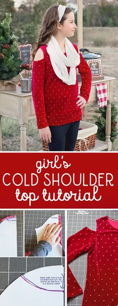 Cold Shoulder Top Tutorial: Learn how to sew a COLD SHOULDER top! Use my free t-shirt pattern or your own favorite knit top pattern!  #handmadewithjoann @joann_stores #ad
