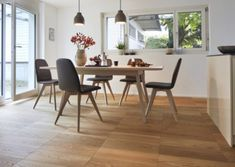 Here are plenty of ideas for your life at home and your life with parquet: References, exciting stories and an interactive Parquet Configurator. Dining Chairs, Dining Table, Kitchen Flooring, Mini, Furniture, Home Decor, Dbz, House Ideas, Interiors