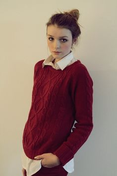 This is how I've been dressing lately, collared shirt under a sweater and a bun.
