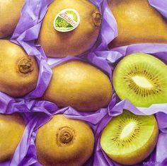 Kiwi fruit Fruit Painting, Fruits And Vegetables, Oil Paintings, Kiwi, Peach, Food, Fruits And Veggies, Peaches, Essen