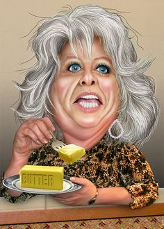 Paula Ann Hiers Deen is an author, cooking show television host and owns and operates The Lady & Sons restaurant. Greg Gilman / The Wrap: Paula Deen Compares Her Struggles to 'That Black' Openly Gay NFL Prospect Michael Sam Cartoon People, Cartoon Faces, Funny Faces, Cartoon Art, Funny Caricatures, Celebrity Caricatures, Celebrity Drawings, Caricature Artist, Caricature Drawing