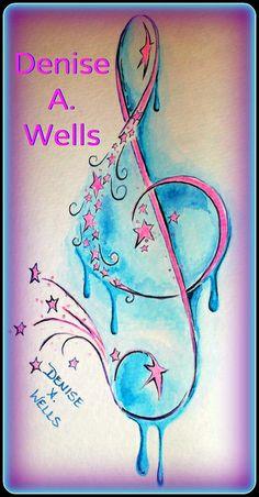 Watercolor tattoo design by Denise A. Wells Treble Clef stars tattoo