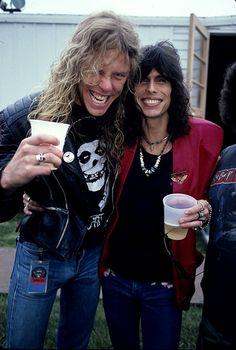 James Hetfield of Metallica and Steven Tyler of Aerosmith. James Hetfield, Mia Tyler, Tyler James, Music Love, Rock Music, My Music, Robert Trujillo, Iron Maiden, Megadeth