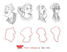 ArtStation - Sketches, Luigi Lucarelli Character Design Disney, Character Design Challenge, Character Design Tutorial, Cartoon Drawing Tutorial, Cartoon Girl Drawing, Cartoon Sketches, Couple Sketch, Couple Drawings, Disney Drawings