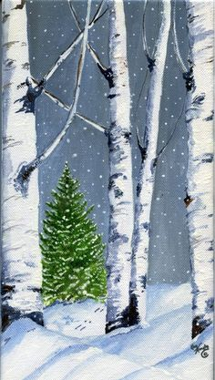 Birch Winter Scene More