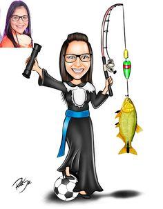 Caricaturas digitais, desenhos animados, ilustração, caricatura realista: Desenho de formanda de Administração , que adora p...