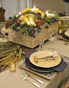 Napa/Sonoma Wine Theme--fruit, vegetables and candles in a wooden box Centerpiece with great plate combination