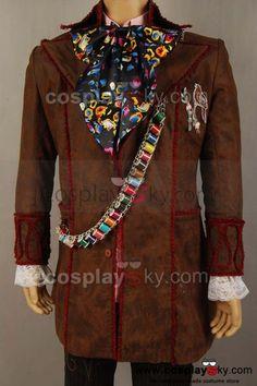 Alice In Wonderland Johnny Depp Mad Hatter Jacket Pants Tie 6 pcs Costume-1