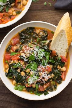 A hearty chickpea stew with kale and a tomato base, this meal is perfect for a quick and cozy dinner in the fall and winter months.