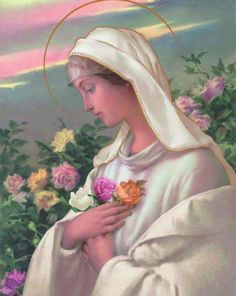 It highlights a beautiful and inspirational scene showcasing the Blessed Virgin Mary as the Mystical Rose, Rosa Mystica. It makes a perfect addition to any Religious or Catholic collection and would look great in any setting. Divine Mother, Blessed Mother Mary, Blessed Virgin Mary, La Salette, Verge, Catholic Pictures, Queen Of Heaven, Sainte Marie, Mary And Jesus