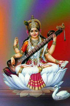 Lord Saraswati, Saraswati Mata, Saraswati Goddess, Lord Shiva, Shiva Hindu, Shiva Shakti, Hindu Deities, Hindu Art, Saraswati Painting