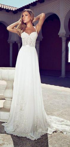 A-line Chiffon Spaghetti Straps Corset Lace Bodice Wedding Dress #bridal