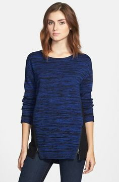 Halogen® Zip Detail Long Sleeve High/Low Sweater available at #Nordstrom <3