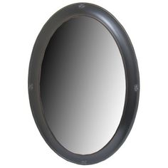 "$35 - Rubbed Black Oval Polystone Mirror with Bevel, Length: 31"" Width: 21"""