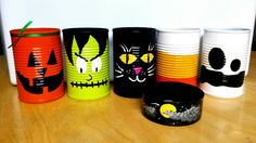 Halloween Themed Painted Cans  Halloween Decor  by LifeisChaos