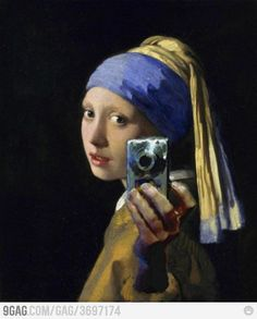 Girl with the camera... A parody of Vermeer´s  Girl with a pearl earring.