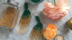 Beads beads beads, lots of beads, we can't get enough – can you? Here is how to make pretty tassel earrings with ROCAILLES, but the technique also works with. Bead Earrings, Tassel Earrings, Jewellery Diy, Jewelry, Tassels, Youtube, Beads, Pretty, Inspiration