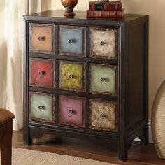This Coast to Coast Multicolored 3 Drawer Chest makes a cheerful addition to any room. The three spacious drawers neatly organize and store clothes,. Funky Furniture, Paint Furniture, Repurposed Furniture, Shabby Chic Furniture, Furniture Projects, Furniture Makeover, Furniture Decor, Furniture Outlet, Online Furniture
