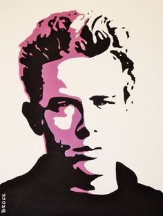 Pop art style painting of James dean in acrylic paint on heavy watercolor paper. Ready to frame